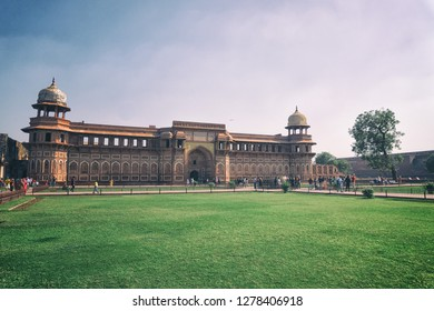 AGRA, INDIA - November 24, 2018- People visiting Red Fort, Agra, India.