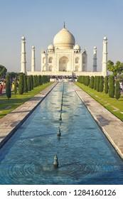 AGRA, INDIA - November 24, 2018: Taj Mahal in the morning, Agra, India.