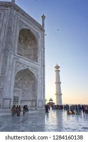 AGRA, INDIA - November 24, 2018: Taj Mahal and tower, Agra, India.