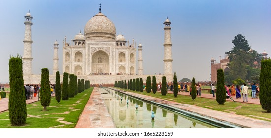 AGRA, INDIA - NOVEMBER 3, 2019: Panorama of the historic Taj Mahal monument in Agra, India