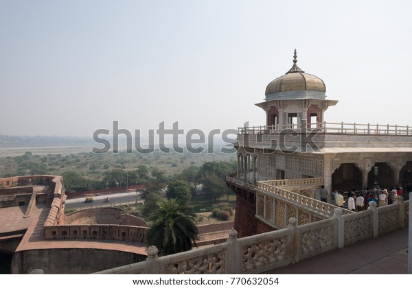 Agra India - November 6 2014 - Agra Fort is a historical fort in the city of Agra in India. It was the main residence of the emperors of the Mughal Dynasty till 1638, when the capital was shifted.