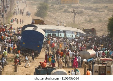 Agra, India - Oct 21st, 2009 - Rescue operation in progress for a derailed train outside Agra, India.