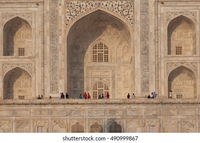 AGRA, INDIA - OCTOBER 18, 2014: Closer view of white marble detail of Taj Mahal located in Agra, India.