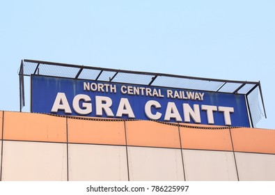 AGRA INDIA - OCTOBER 25, 2017: Agra Cantt railway station signage in Agra.
