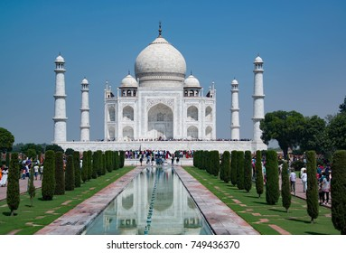 Agra, India – September 29, 2017:The Taj Mahal is a mausoleum built out of love to honor emperor Shah Jahan's wife and a magnificent world famous tourist attraction and landmark in Agra, India