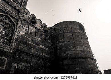 Agra, India-December 31, 2018 : Black and White Amar Singh Gate of Agra Fort, Agra, India.