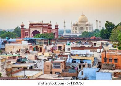 Agra town with Taj Mahal at sunset