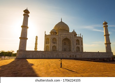 Agra, Uttar Pradesh / India - 03/10/2020: Wide angle view of Taj Mahal in Agra while sunset. The Taj is a white marble mausoleum on the Yamuna river. Taj Mahal is one of the 7 wonders in world - Image