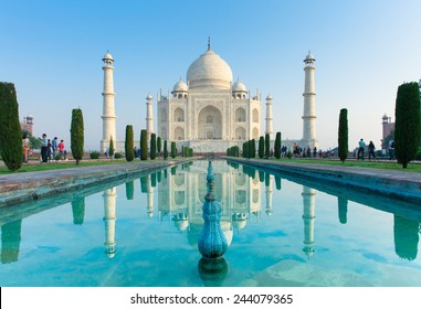 Agra, Uttar Pradesh, India - 04 October, 2014: The morning view of Taj Mahal monument reflecting in water of the pool, Agra, India on 04 October, 2014.