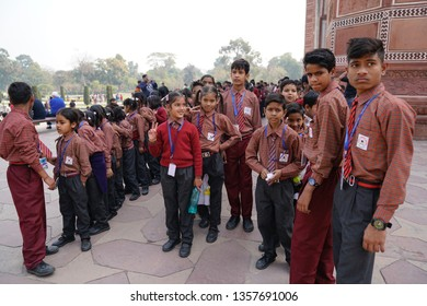 Agra, Uttar Pradesh, India - 18 March 2019: Students lining up to field visit and sightseeing.