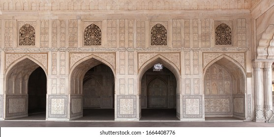 AGRA, UTTAR PRADESH, INDIA - JANUARY 3, 2020: Diwan-I-Khas palace- Shah Jahan's private audience hall  in Agra Fort. It was the location where the Mughal Emperor Shah Jahan received courtiers.