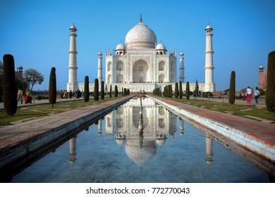 Agra, Uttar Pradesh, India, January 18, 2011 : A beautiful view of the Taj Mahal and it's reflection in water