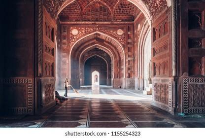 AGRA, UTTAR PRADESH, INDIA - MARCH, 2018: Morning light inside the mosque of Taj Mahal