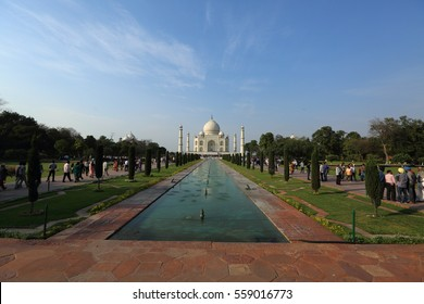 Agra,India-Mar,07,2015 : Taj Mahal with the garden at sunny day in Agra,India.It is one of the worlds most celebrated structures and a symbol pf indias rich history.