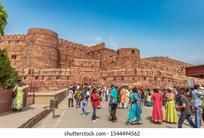 Agra,Utter Pradesh /India -October 12,2019. Agra Fort,a historical fort which was the main residence of the emperors of the Mughal Dynasty until 1638, when the capital was shifted from Agra to Delhi.