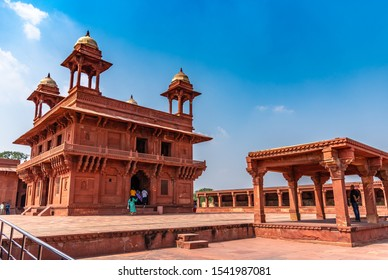 Agra,Utter Pradesh / India - October 13,2019. Diwan-E-Khas, also known as the Hall of Private Audiences, with an ornately carved central stone pillar, built for Emperor Akbar in Fatehpur Sikri.