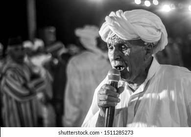 Agred - Tamanart Morocco september 2019 : Ahwach folklor big meeting of bands singing in amazigh language