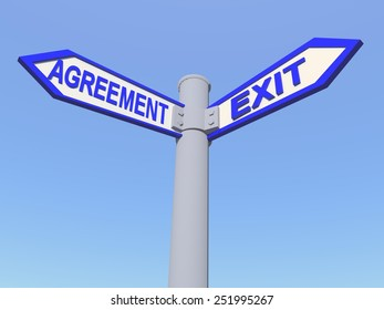 agreement exit sign - directions - crisis europe