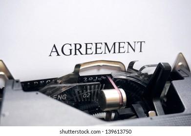 Agreement on typewriter