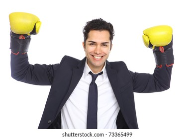 Agressive Businessman with boxing gloves, isolated on white