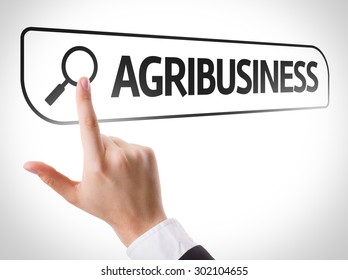 Agribusiness written in search bar on virtual screen