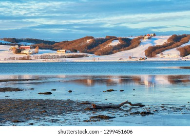 Agricultural area Byneset, located near the Norwegian city Trondheim ,and Trondheim fjord in the winter
