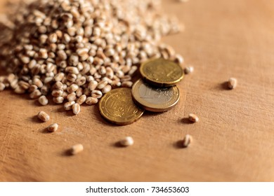 Agricultural cost: Euro coins and cereal grains of wheat