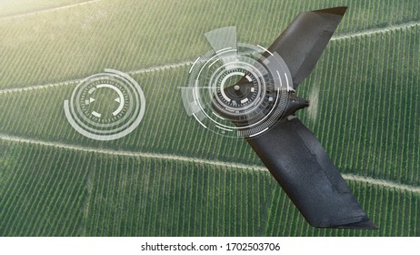 Agricultural drone flies over the valley. Smart farming and digital transformation in agriculture.