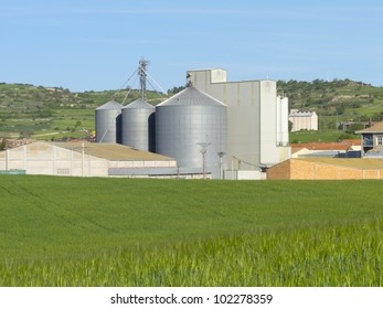 Agricultural farm with silos where wheat is stored in