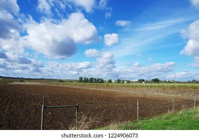 Agricultural field and small village, Alentejo, Portugal