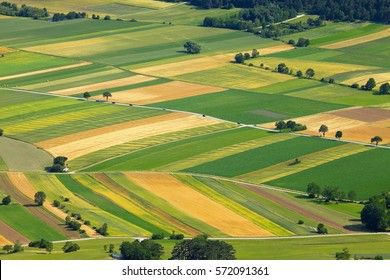 Agricultural fields, aerial view