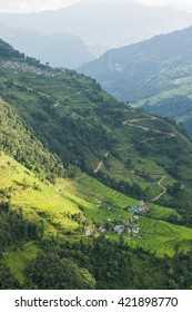 Agricultural fields with village in Annapurna area, Nepal.
