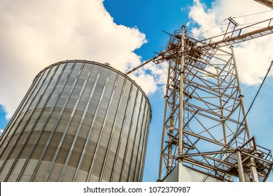 Agricultural grain dryer complex. Granary with loading tower.