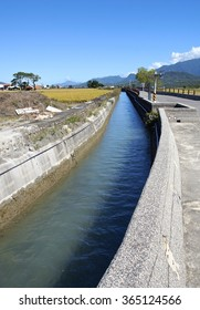 Agricultural irrigation canal closeup in Taiwan