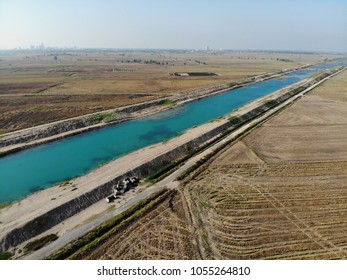 Agricultural irrigation canals of rice field