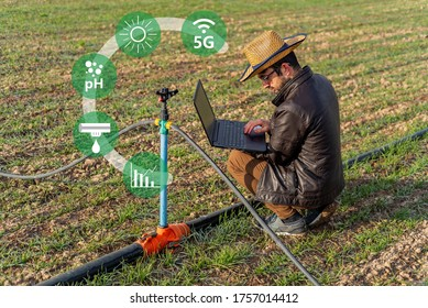 Agricultural irrigation technology concept. Agritech icons and messages on farmer holding laptop in wheat filed.