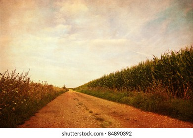 agricultural landscape background with grunge texture