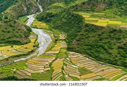 Agricultural landscape in rural Bhutan - Eastern Bhutan