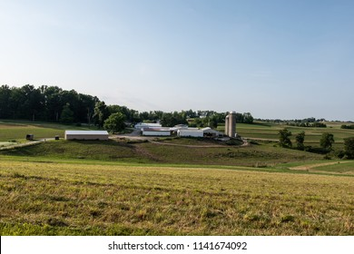 Agricultural landscape of a small family-owned dairy farm in rural Appalachia. Small dairies are going out of business at a record rate.