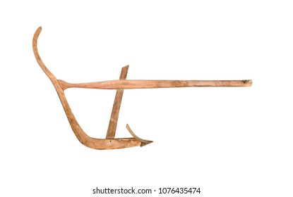 Agricultural old manual wooden plow isolated on white background with clipping path