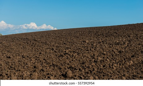 agricultural plowed field and sky landscape panorama. Ukraine. Europe.