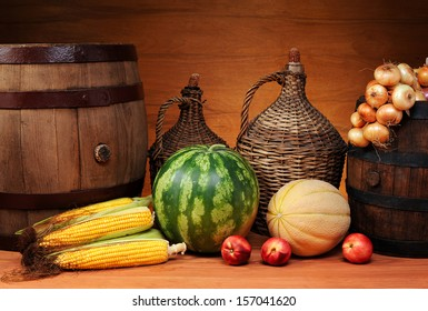 Agricultural products and wooden barrel on the table