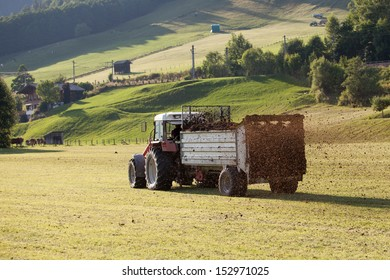 Agricultural scene of farmer manure spreading as agricultural background. Fertilising the field.