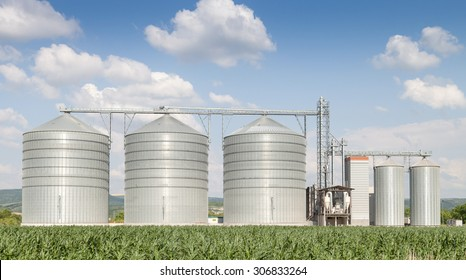 Agricultural Silo - Building Exterior, Storage and drying of grains, wheat, corn, soy, sunflower against the blue sky with white clouds