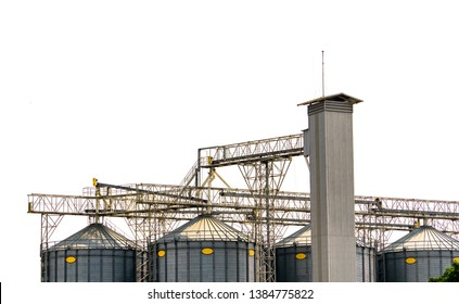Agricultural silo at feed mill factory. Flat silo for store and drying grain, wheat, corn at farm. Storage of agricultural product. Big tank for store grain. Grain stock tower. Agriculture industry.