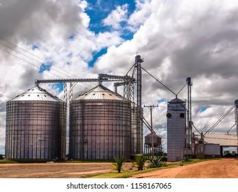 Agricultural silver silo in Mato Grosso State, Brazil