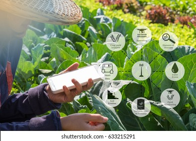 Agricultural technology and organic agriculture concept. Agritech icons and messages on farmer holding smart phone in vegetable filed.