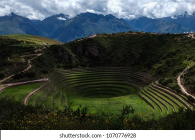 Agricultural terraces of Moray in the Sacred Valley,Peru
