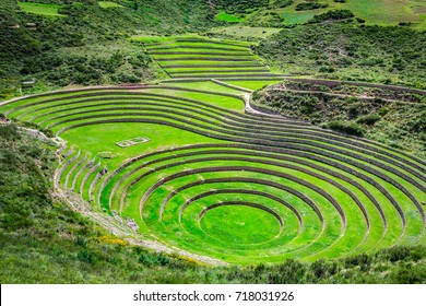Agricultural terraces in  the Sacred Valley. Moray in Cuzco, Sacred Valley, Peru