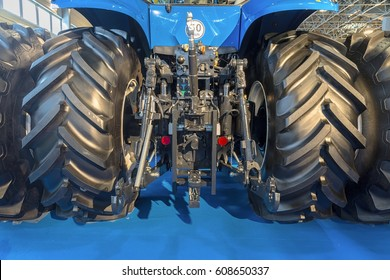 Agricultural tractor back view